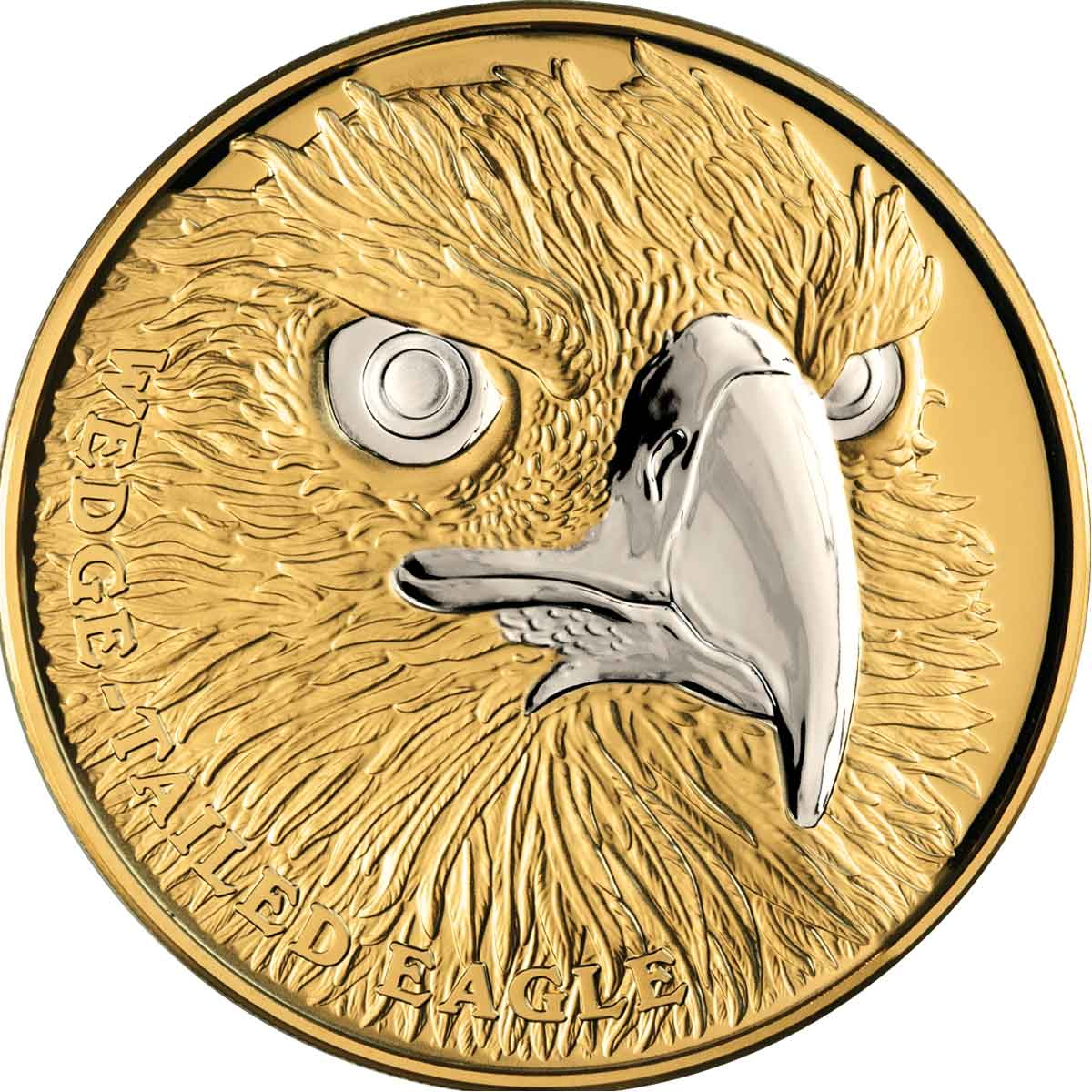 2019 Wedge Tailed Eagle Niue_2019_Wildlife_Up_Close_1_Wedge-Tailed_Eagle_$100_1_Troy_Oz_Pure_Gold_Proof_with_Platinum_Plating_obverse