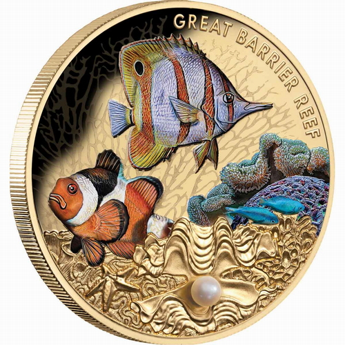 2020 Great Barrier Reef Niue_2020_Great_Barrier_Reef_$100_1_Troy_Ounce_Pure_Gold_Proof_with_Color_and_Genuine_Pearl_obv_edge_view