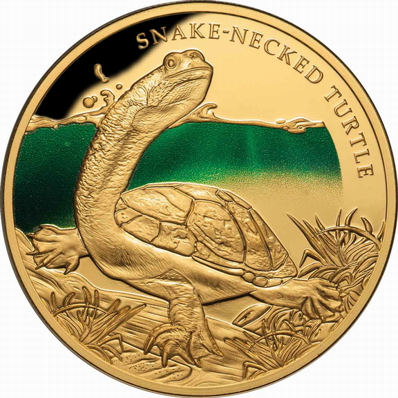 2020 Snake Necked Turtle Niue_2020_Remarkable_Reptiles_Snake-Necked_Turtle_$100_1_Troy_Oz_Pure_Gold_Proof_with_Color_obverse