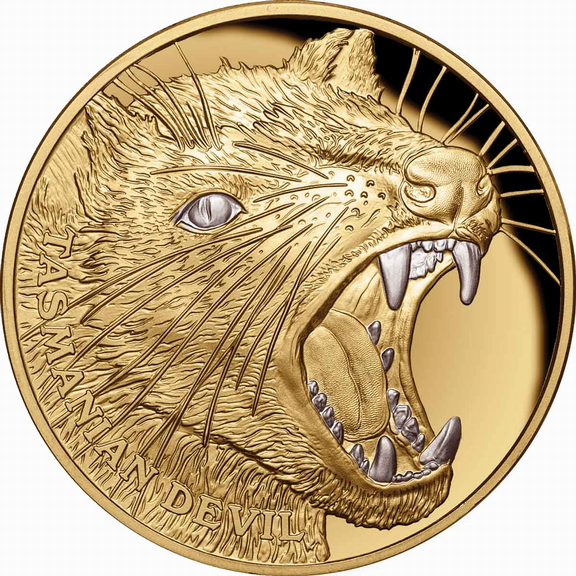 2020 Tasmanian Tiger Niue_2020_Wildlife_Up_Close_2_Tasmanian_Devil_$100_1_Troy_Oz_Pure_Gold_Proof_with_Platinum_Plating_obverse