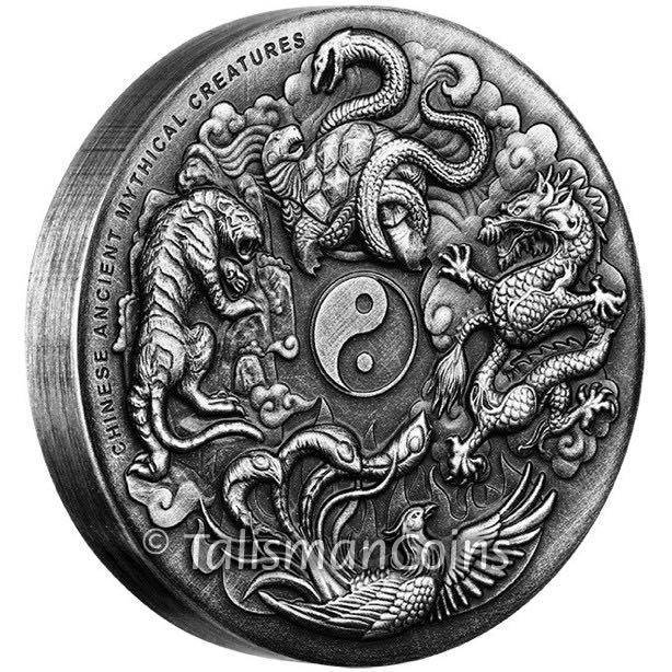 2016 Ancient Chinese Mythical Creatures 2 Oz Silver Antiqued Coin Obv On Edge
