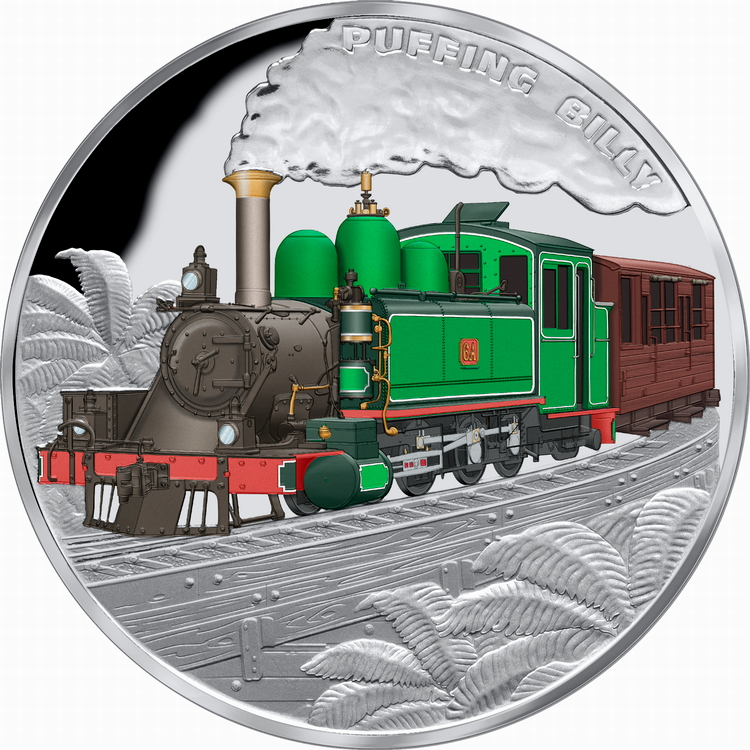 Niue_2020_Puffing_Billy_Railroad_Locomotive_$1_1_Oz_Pure_Silver_Proof_with_Color_Mintage_1000
